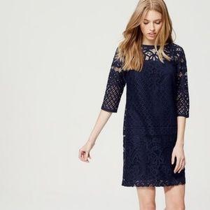 Ann Taylor Loft Blue Lace Dress